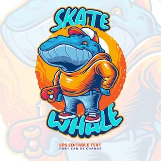 Skater whale ilustracja szablon logo