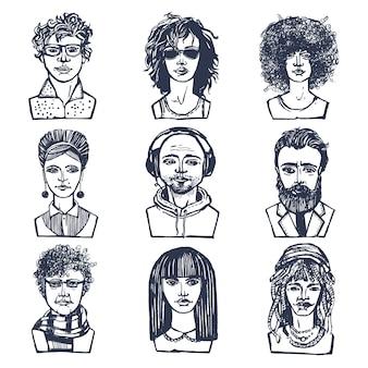 Skecze grunge mężczyzn i kobiet portretów zestaw ilustracji wektorowych odizolowane