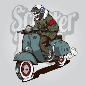 Skeleton jedzie na skuter