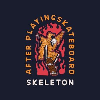 Skeleton skateboard skull paradise