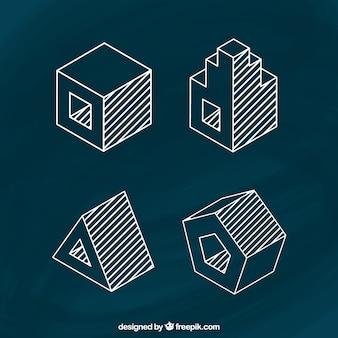 Sketchy 3d kształty