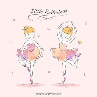 Sketchy baleriny w dwóch pozycjach
