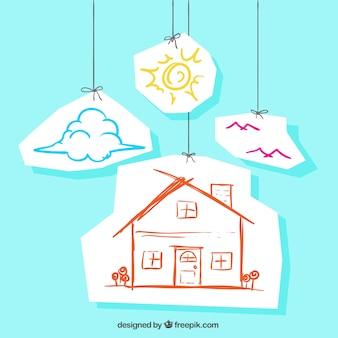 Sketchy dom wiszące