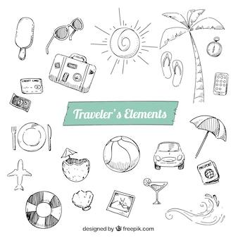 Sketchy elementy podróżnych paczka