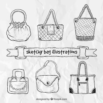 Sketchy ilustracji torba