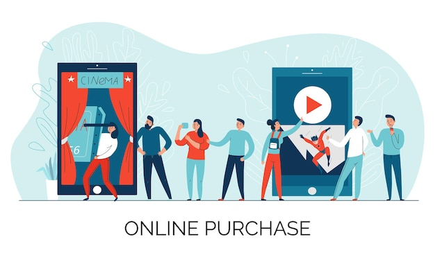Skład biletu do kina online z opisem zakupu online i kolejką do ilustracji biletów
