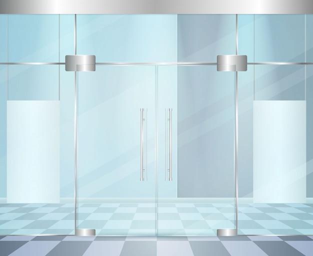 Skład błyszczących nowoczesnych drzwi