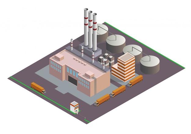 Skład budynków przemysłowych izometryczny