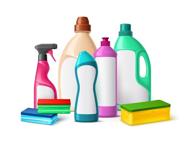 Skład butelek z detergentem. realistyczna domowa chemiczna grupa produktów czyszczących, plastikowe kolorowe opakowania, pakiet do prania i higieny domowej z pustymi etykietami wektor koncepcja 3d na białym tle