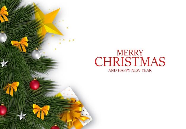 Skład choinki. życzenia świąteczne na białym tle