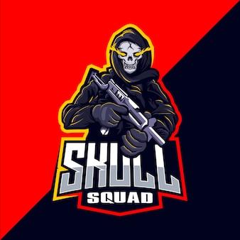 Skład czaszki z logo e-sportowym maskotki pistoletu