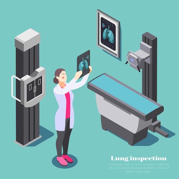 Skład do inspekcji płuc z ilustracją izometryczną badającą symbole xray