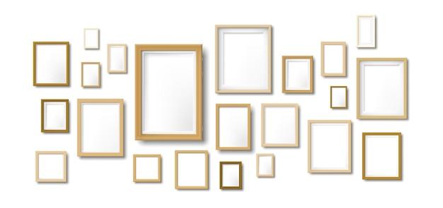 Skład drewnianych ramek do zdjęć. ramka na zdjęcia z jasnego drewna, wisząca siatka ze zdjęciami moodboard i szablon ilustracji na ścianę artystyczną.