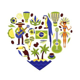 Skład elementu dekoracyjnego brazylii kształt serca