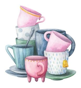 Skład filiżanek, ilustracja w pastelowych kolorach. dania na białym tle na białym tle.