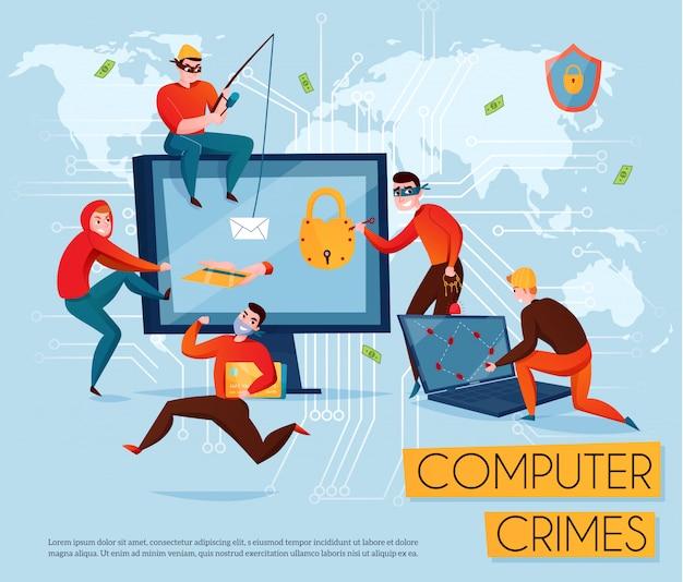 Skład grupy hakerów z nagłówkiem o przestępstwach komputerowych i pięciu oszustów kradnie informacyjną ilustrację