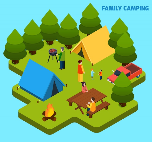 Skład isometric camping i podróż