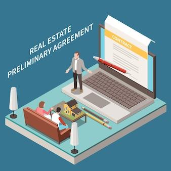 Skład izometryczny agencji nieruchomości z postaciami scenicznymi na laptopach klientów agenta i umową na ekranie