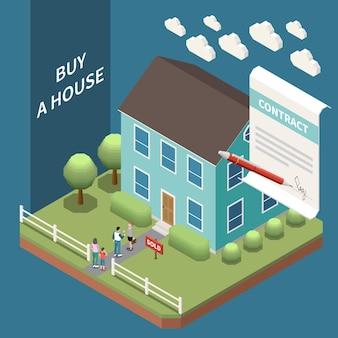 Skład izometryczny agencji nieruchomości z widokiem na zewnątrz domu na sprzedaż z klientami i umową