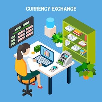 Skład izometryczny bankowości wymiany walut