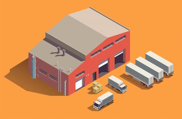 Skład izometryczny budynków przemysłowych z szopą do przechowywania tkanin i zestawem ciężarówek z pojemnikami i skrzyniami