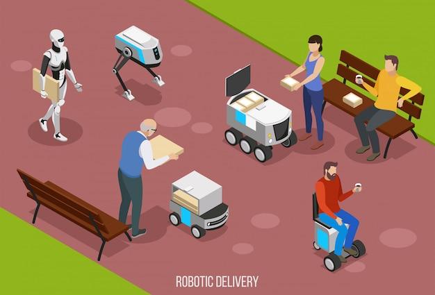 Skład izometryczny dostawy robota z ilustracją osób otrzymujących twoje zamówienie za pomocą pojazdów autonomicznych
