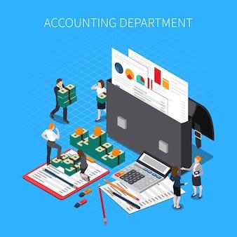 Skład izometryczny działu księgowości z folderami dokumentów finansowych raporty wyciągi kalkulator podatkowy banknoty gotówka personel