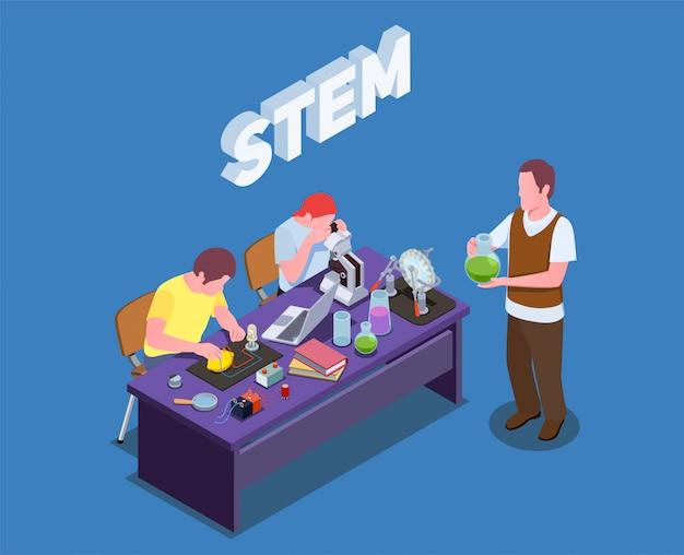 Skład izometryczny edukacji stem z tekstem i postaciami ludzkimi uczniów i nauczycieli wykonujących badania laboratoryjne