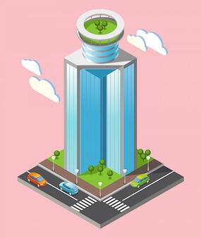 Skład izometryczny futurystyczne wieżowce z częścią miasta z drogami i wysokimi budynkami na różowym tle