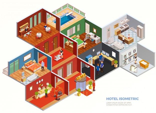 Skład izometryczny hotelu