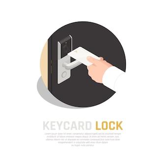 Skład izometryczny identyfikacji dostępu karty klucza w ludzkiej dłoni z tłem czujnika klamki drzwi pokoju gościnnego