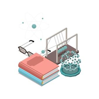 Skład izometryczny koncepcji edukacji macierzystej z obrazami modeli fizycznych i stosem książek ilustracji