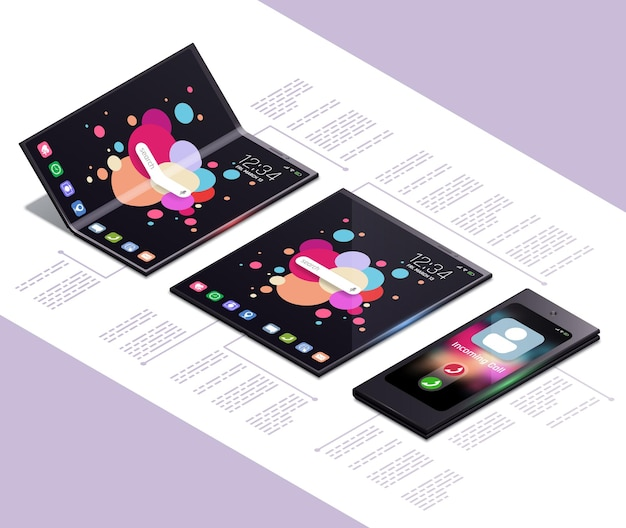 Skład izometryczny koncepcji składanych gadżetów z elektronicznymi modelami smartfonów z ekranem dotykowym nowej generacji z ilustracją tekstową,
