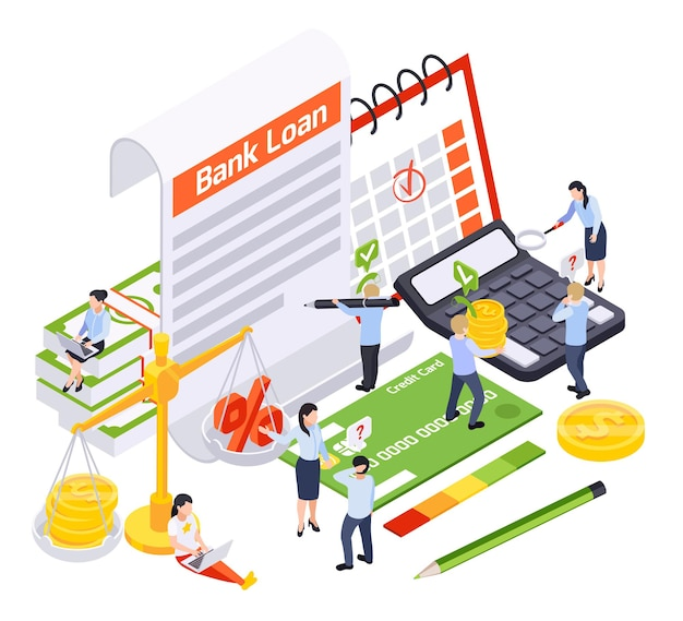 Skład izometryczny kredytu bankowego z ikonami umowy i karty kredytowej z artykułami papierniczymi i ilustracjami ludzi