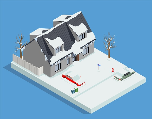 Skład izometryczny maszyn do czyszczenia śniegu z zimowym widokiem na ośnieżony dom mieszkalny i ilustrację samochodów