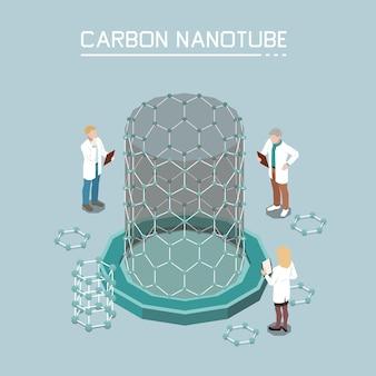 Skład izometryczny nanotechnologii z przyrostem nanorurek węglowych z nanocząstek grafenu innowacyjne produkty nanomateriały tło