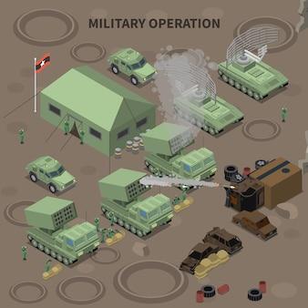 Skład izometryczny operacji wojskowej z namiotem dla żołnierzy instalacji radaru i wyrzutni rakiet