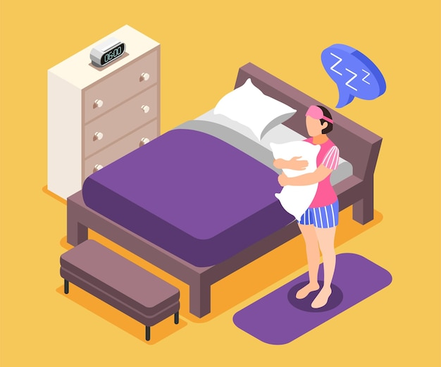 Skład izometryczny potrzeb ludzkich z symbolami potrzeb snu