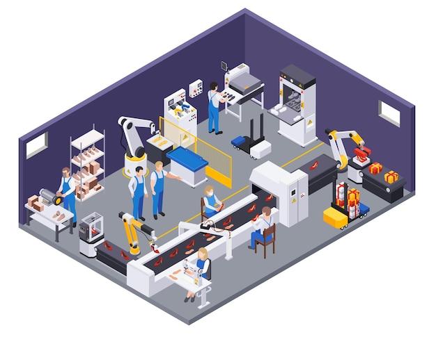 Skład izometryczny produkcji obuwia z widokiem na dział produkcji z manipulatorem urządzeń przenośnikowych i ilustracją pracowników