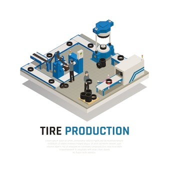Skład izometryczny produkcji opon z wyposażeniem przemysłowym do produkcji i konserwacji kół samochodowych