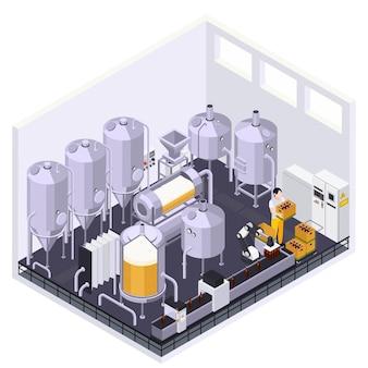 Skład izometryczny produkcji piwa w browarze z wewnętrznym widokiem metalowych słoików z rurkami i ilustracją na żywo przenośnika
