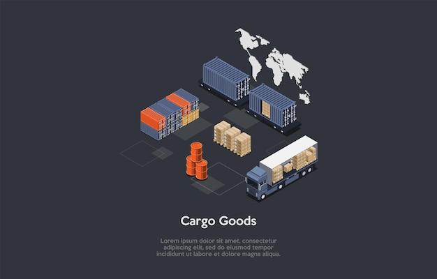 Skład izometryczny, projekt wektor. 3d ilustracja stylu cartoon z pisania na koncepcji towarów towarowych. elementy związane z magazynem, ciężarówki, pudełka kartonowe, stojące beczki. mapa i infografiki.