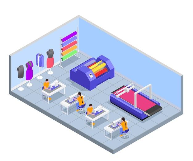 Skład izometryczny przędzalni włókienniczej z widokiem na miejsca pracy przy stole z maszynami do szycia i ilustracją manekinów