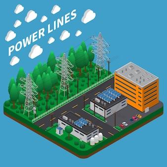 Skład izometryczny przesyłu energii elektrycznej z napowietrzną linią wysokiego napięcia na dużych wysokich metalowych wieżach