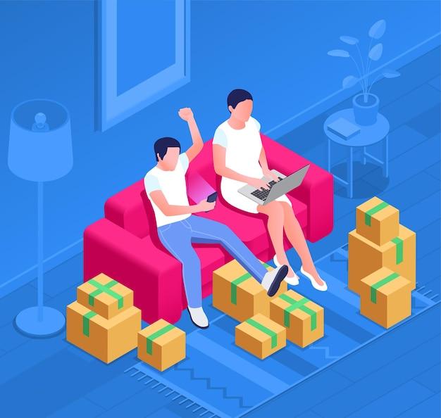 Skład izometryczny punktu sprzedaży online z dwiema osobami siedzącymi na kanapie z ilustracjami gadżetów i kartonów