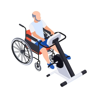 Skład izometryczny rehabilitacji fizjoterapii z mężczyzną na wózku inwalidzkim z ilustracją maszyny treningowej
