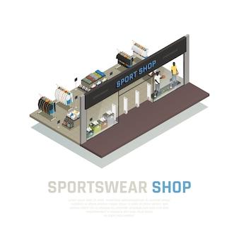 Skład izometryczny sklepu z odzieżą sportową i gablotą z widokiem zewnętrznym z odzieżą i butami manekinów