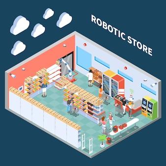 Skład izometryczny sklepu zrobotyzowanego z wnętrzem hali handlowej supermarketów wyposażonej w sprzęt przyszłości