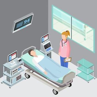 Skład izometryczny sprzętu medycznego z salą obserwacyjną wnętrze podstawowej opieki zdrowotnej lekarz i pacjent charaktery ludzkie