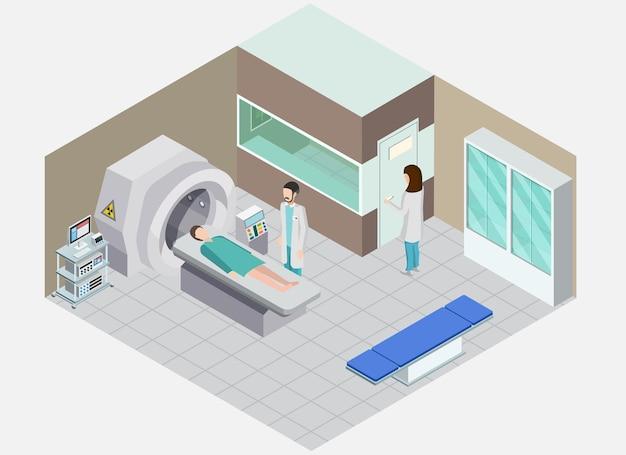 Skład izometryczny sprzętu medycznego z widokiem na salę szpitalną z ludźmi i aparatem do zabiegów medycyny nuklearnej